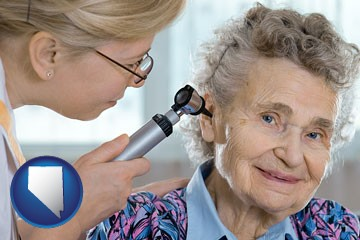a otolaryngologist examining the ear of a patient - with Nevada icon